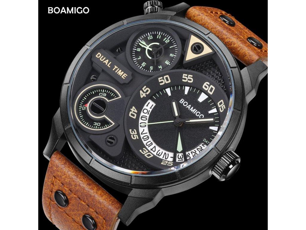 282862b1a9b Atraktivní a stylové velké hodinky Boamigo - duální ciferník černé ...