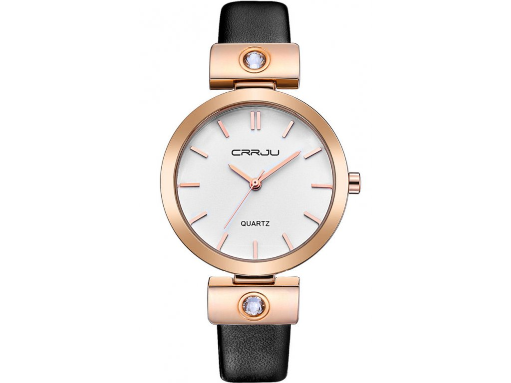 Atraktivní dámské hodinky zn CRRJU - malé černé - Elegans.cz ecfc3097972