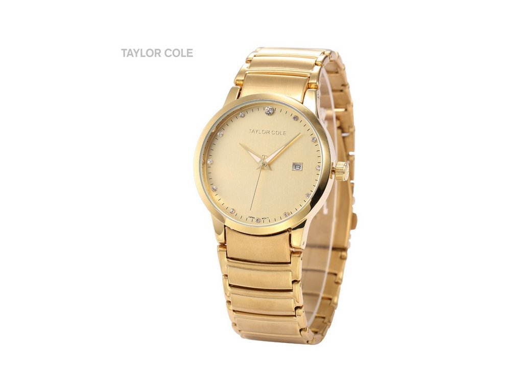 698481e99 ... Atraktivní dámské hodinky Taylor Cole Echo s datumem - zlaté