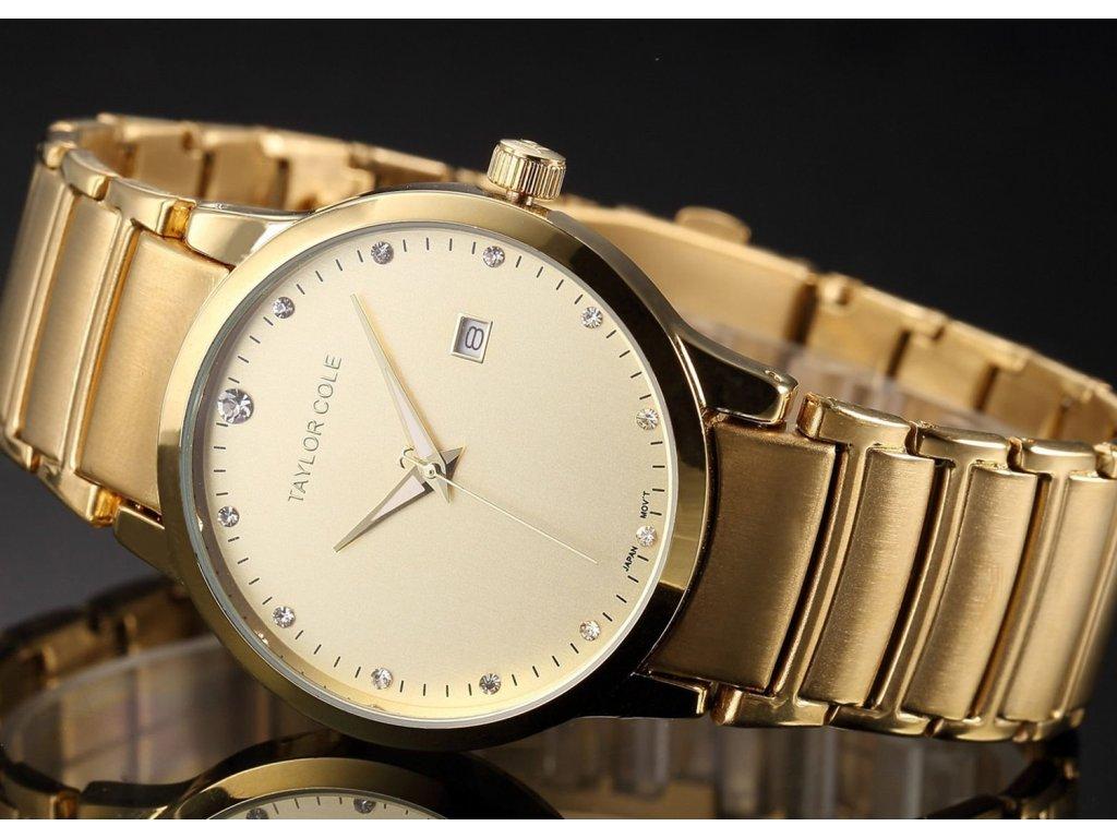 Atraktivní dámské hodinky Taylor Cole Echo s datumem - zlaté ... 6c2bfd3d28