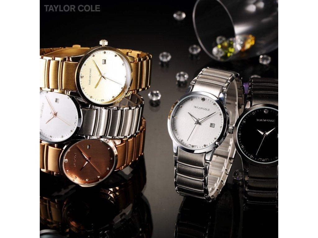 630806b56 ... Atraktivní dámské hodinky Taylor Cole Echo s datumem - zlaté ...