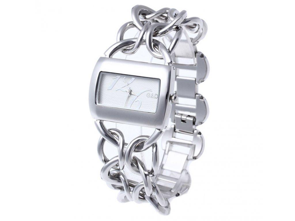 Elegantní dámské hodinky G D hranaté - stříbrné - Elegans.cz 90e7285351