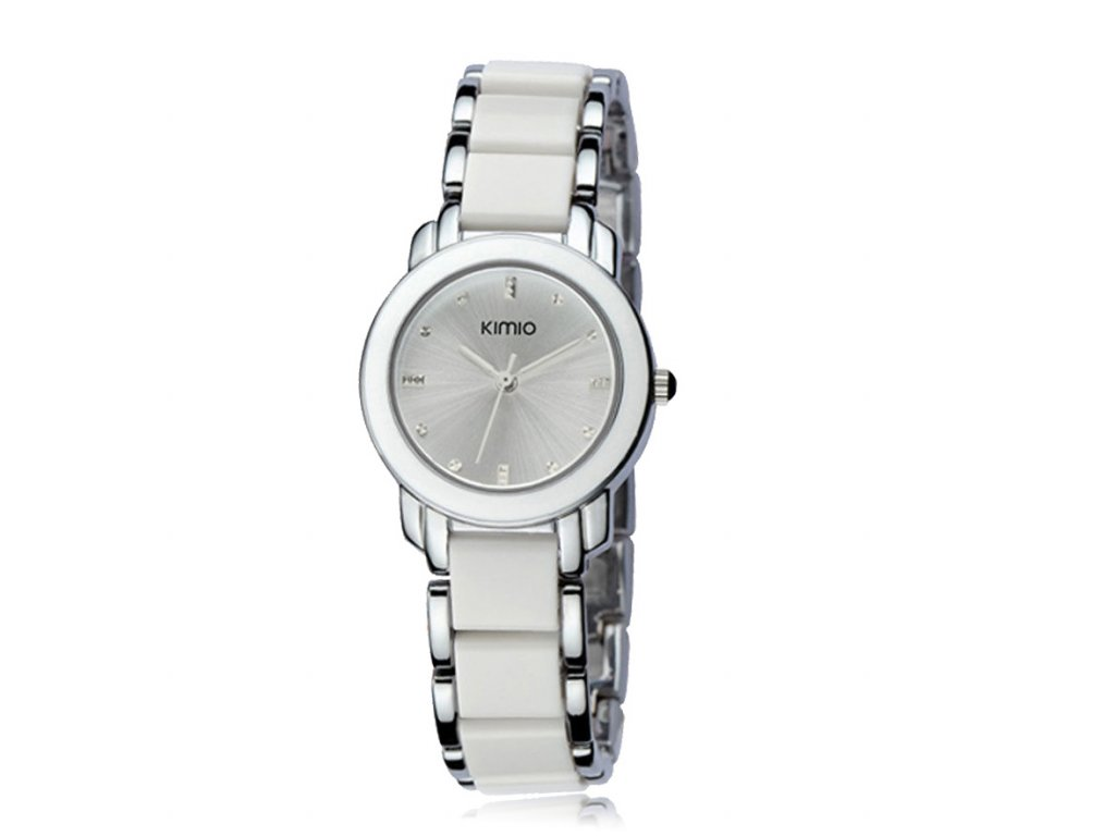 Elegantní dámské hodinky Kimio stříbrné - bílé - Elegans.cz d6f38d2d4fe