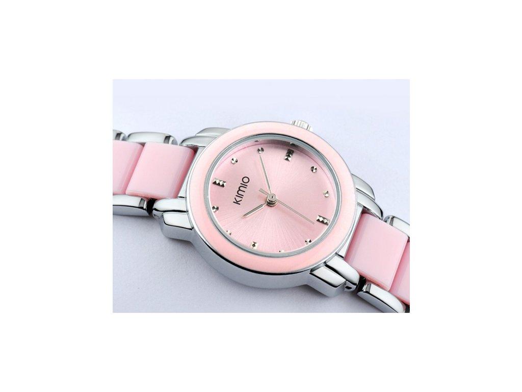 f33714927 Elegantní dámské hodinky Kimio stříbrné - růžové - Elegans.cz