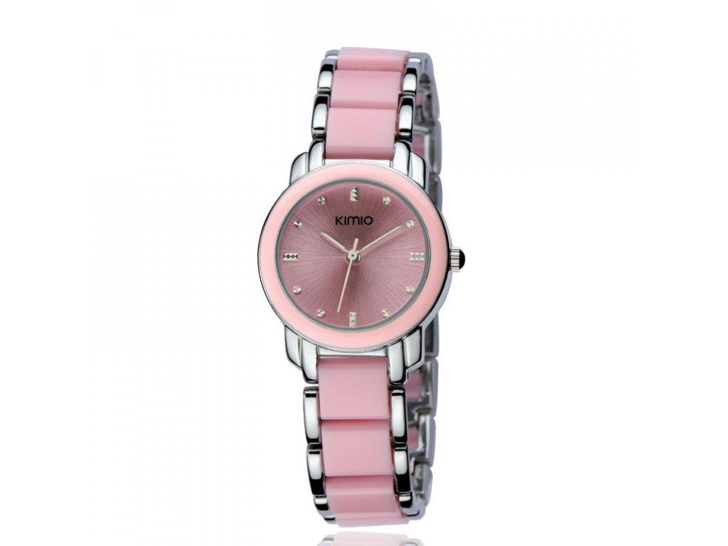 Elegantní dámské hodinky Kimio stříbrné - růžové - Elegans.cz 7e4cee99eff