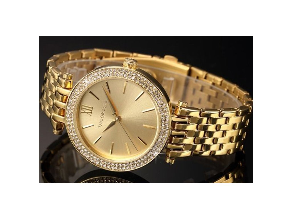 Atraktivní dámské hodinky Taylor Cole Aglaia - zlaté ca403532fc