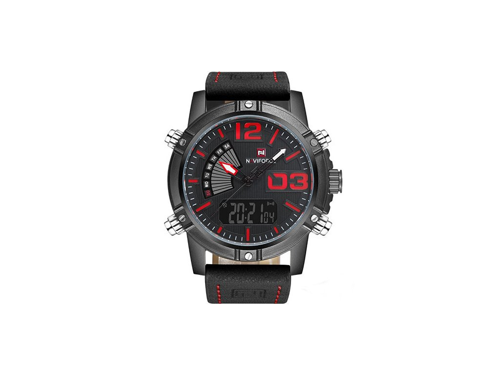 d87f86665f Atraktivní hodinky Naviforce 9095 s funkcemi - černo-červené - Elegans.cz