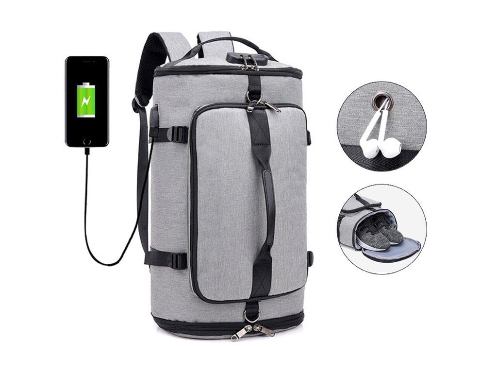 dfcd9b4cf3 Pánská velká taška   batoh se zámkem a USB portem - šedá - Elegans.cz