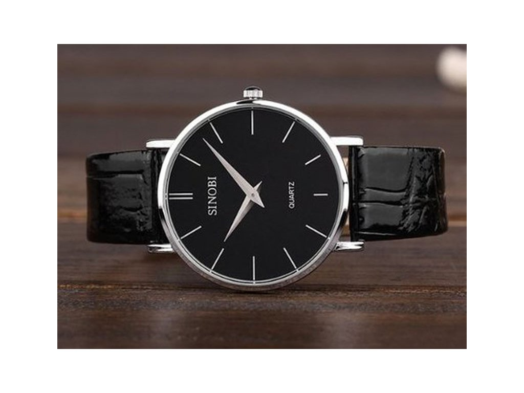 380bdaf64 Módní hodinky Sinobi ultra tenké - černé - Elegans.cz