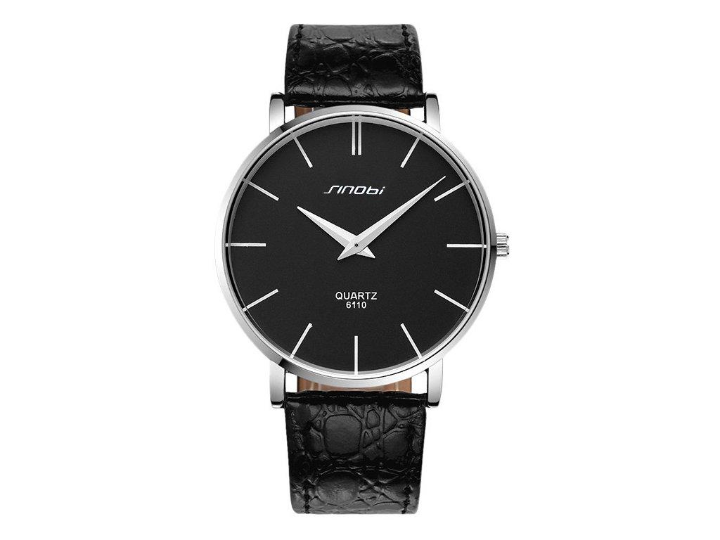Módní hodinky Sinobi ultra tenké - černé - Elegans.cz e1aee998f25