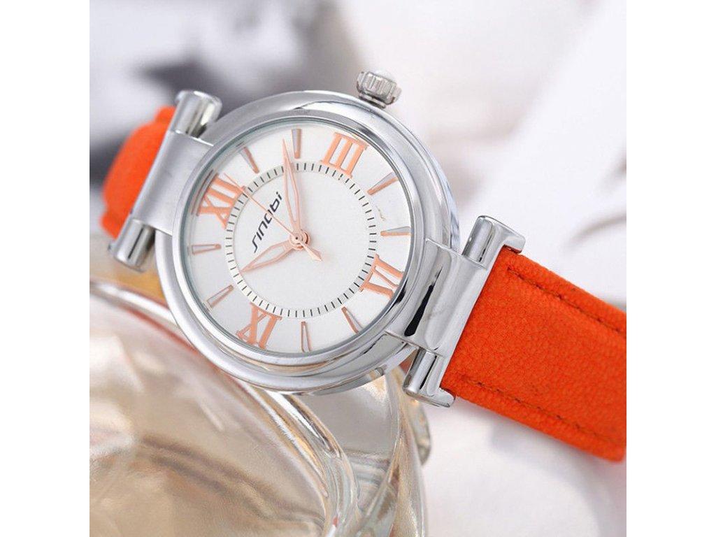 Elegantní hodinky Sinobi - stříbrné oranžové - Elegans.cz fc80009953