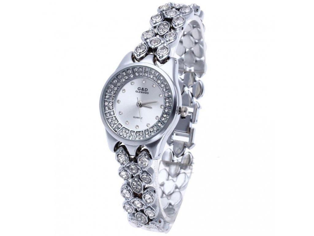 Elegantní dámské hodinky G D kulaté s kamínky - stříbrné - Elegans.cz f5eb5bf470