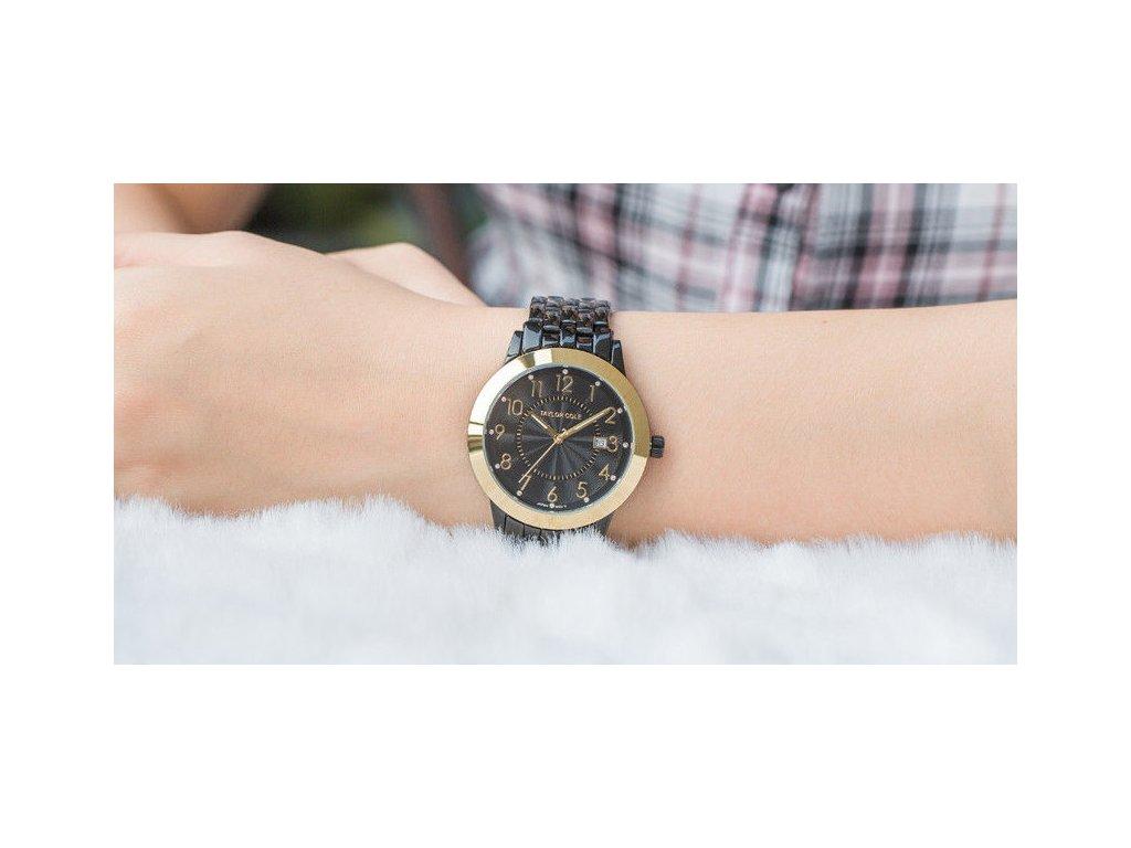 bf1dffbc5 ... Atraktivní dámské hodinky Taylor Cole Aglaia zlato-černé s datumem ...