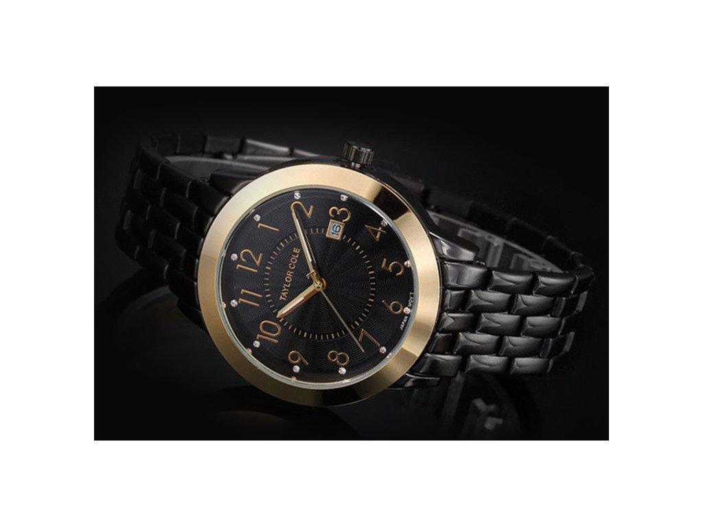 Atraktivní dámské hodinky Taylor Cole Aglaia zlato-černé s datumem ... b22f602664