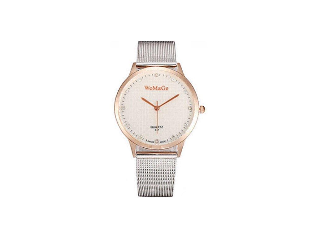e538d15b4c3 Elegantní dámské hodinky zn. WoMaGe - tenké větší s růžovým zlatem ...