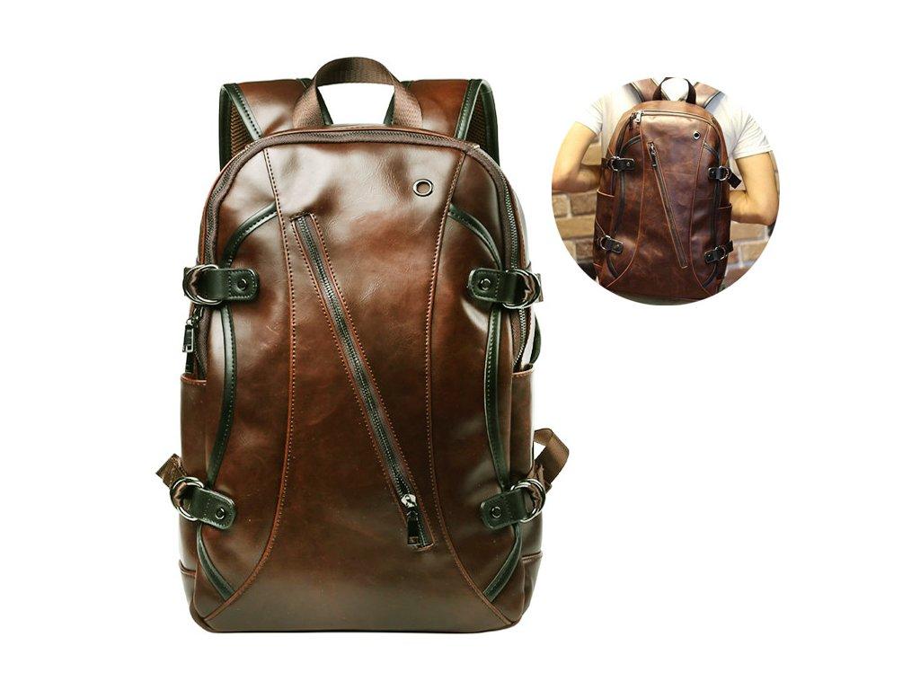 Kožený unisex batoh vel. XL - hnědý d95ef44385