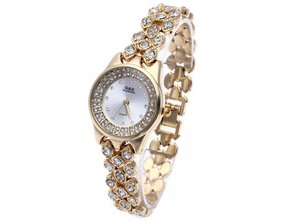 Elegantní dámské hodinky G D kulaté s kamínky - zlaté - Elegans.cz 32287dae752