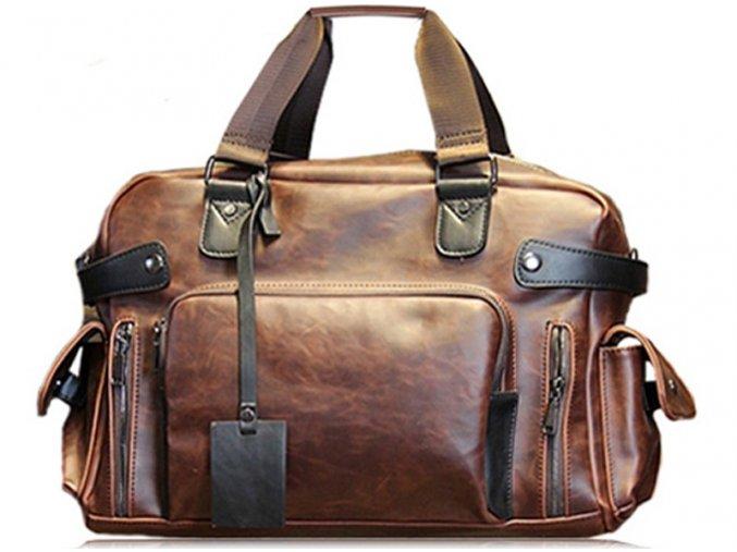 Kožená taška velká cestovní XXL - hnědá