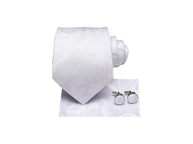 Kravatový set bílý s texturou II, 100% hedvábí