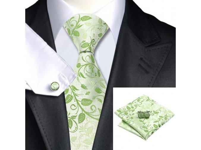Kravatový set zelenkavý s kresbou, 100% hedvábí