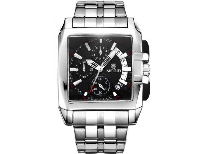 Atraktivní hodinky Megir M2018 stříbrno-černé - čas, datum, chronograf
