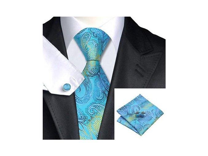 Kravatový set s texturou modro-žlutý, 100% hedvábí
