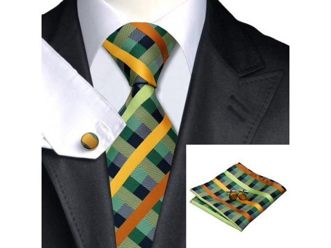 Kravatový set kostkovaný zeleno-žlutý, 100% hedvábí
