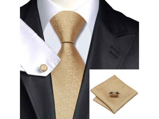 Kravatový set s texturou zlatý, 100% hedvábí