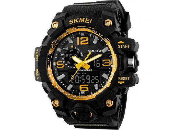 Sportovní hodinky Skmei odolné - čas, kalendář, alarm, chronograf - zlaté