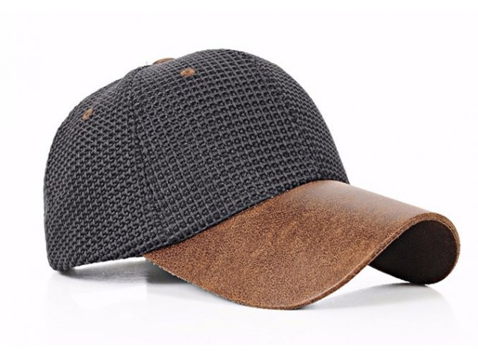 Pánská / dámská čepice basebalka s kůží - černá