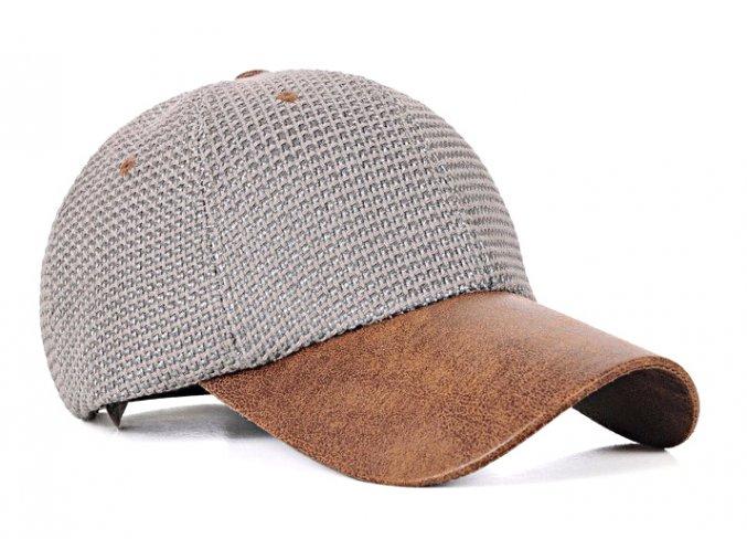 Pánská / dámská čepice basebalka s kůží - šedá