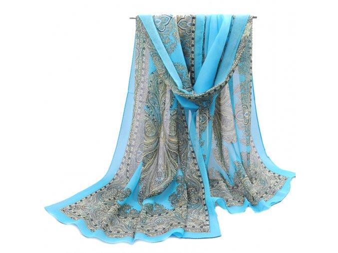 Šátek z lehkého šifonu Queen - modrý