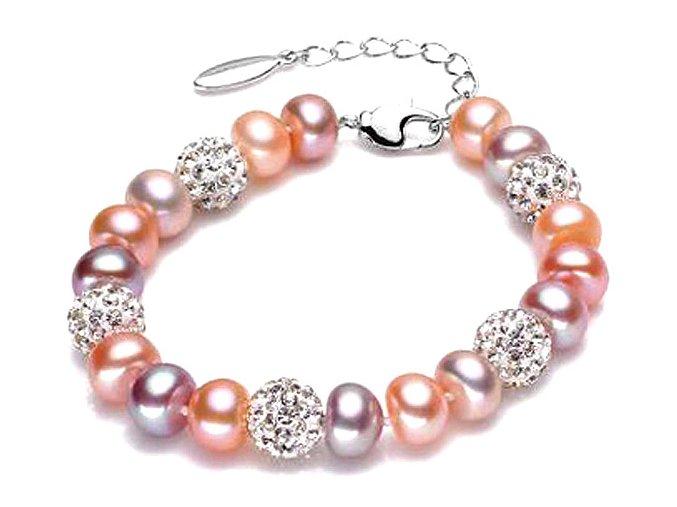 Atraktivní náramek perlový se stříbrnými korálky - mix barev