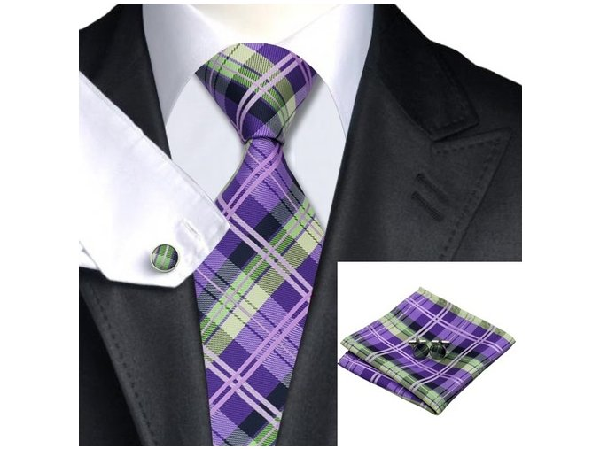 Kravatový set károvaný fialovo-zelený, 100% hedvábí