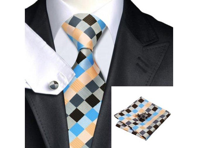 Kravatový set kostkovaný barevný, 100% hedvábí