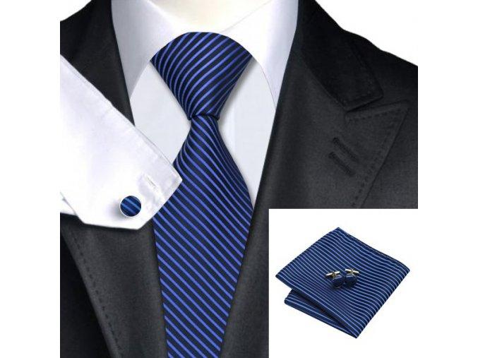 Kravatový set pruhovaný modrý, 100% hedvábí