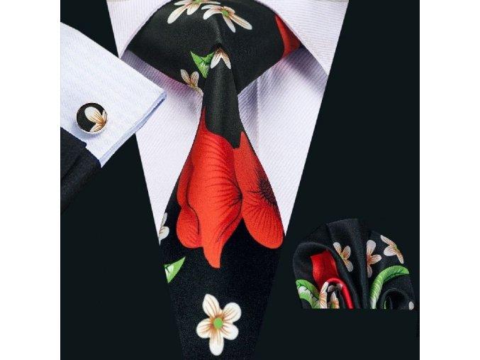 Kravatový set černý s vlčím mákem, 100% hedvábí