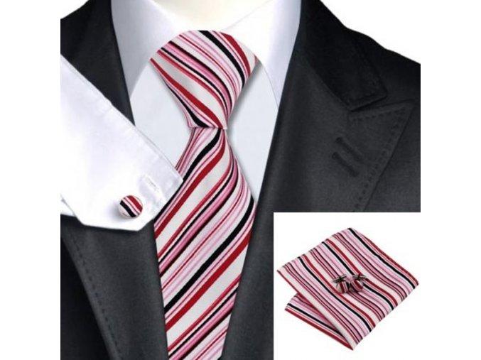 Kravatový set červený pruhovaný, 100% hedvábí