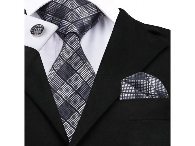 panska kravata cerna seda