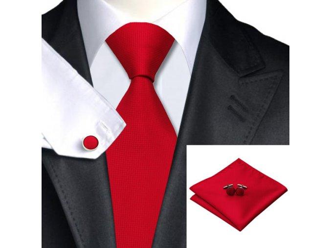 Kravatový set červený hladký, 100% hedvábí