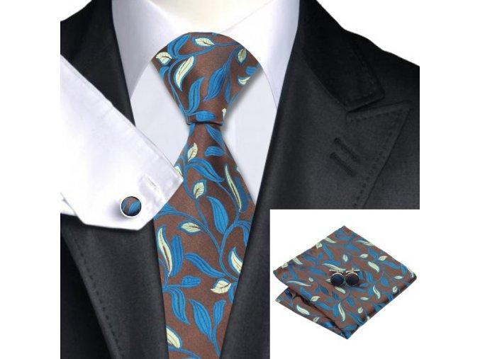 Kravatový set tmavý s listovým vzorem, 100% hedvábí