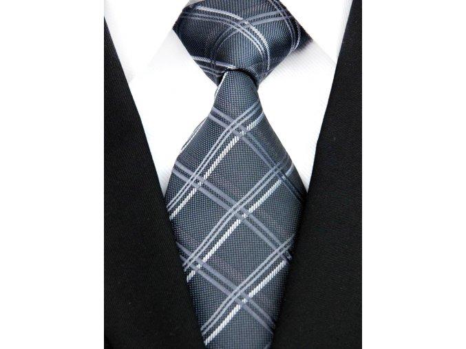 Pánská kravata - tmavě šedá károvaná, hedvábná