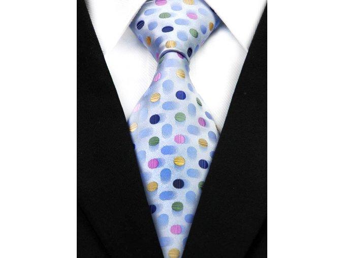 Pánská kravata - modrá s puntíky světlá, hedvábná
