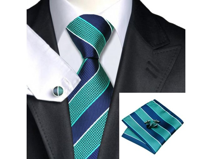 Kravatový set modro-zelený s pruhy, 100% hedvábí