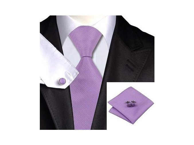 fialova kravata kapesnicek set