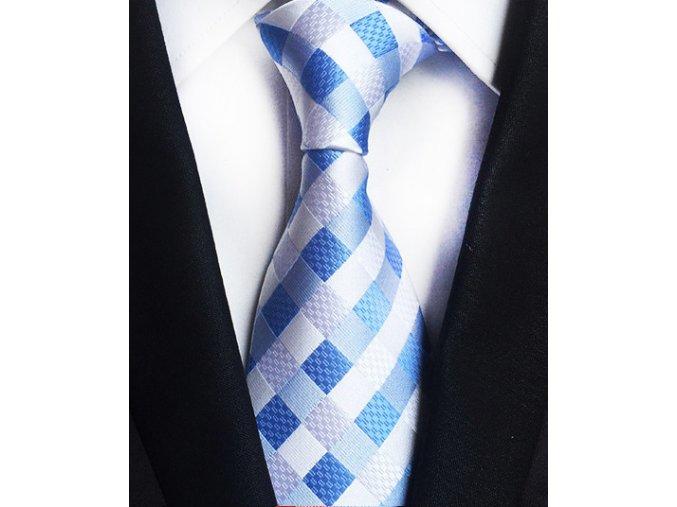 Pánská kravata - světle modrá kostkovaná, hedvábná