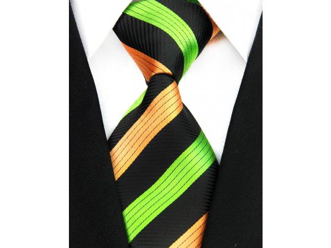 Pánská kravata - černá s barevnými pruhy, 100% hedvábí