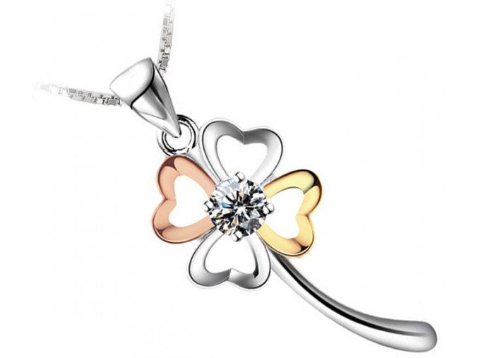 Atraktivní náhrdelník s řetízkem - čtyřlístek barevný