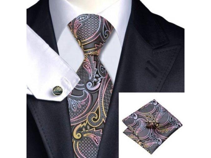 Kravatový set s ornamenty šedo-barevný, 100% hedvábí