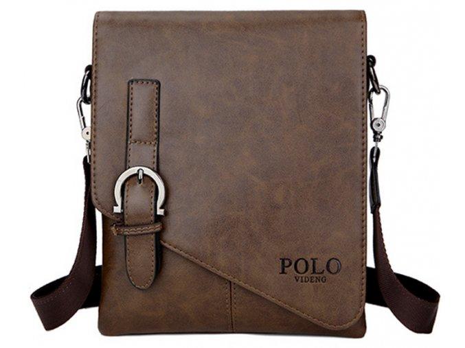 Crossbody taška z eko kůže jednoduchá Polo hnědá - vel. L
